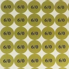 Наклейки на патрони '6/0' (діам. 18 мм, 54 шт. на аркуші), лист