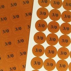 Наклейки на патрони '3/0' (діам. 18 мм, 54 шт. на аркуші), лист