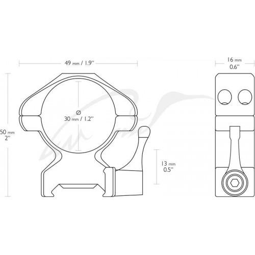 Кільця швидкознімні Hawke Precision Steel. d - 30 мм. High. Weaver/Picatinny  - Фото 2