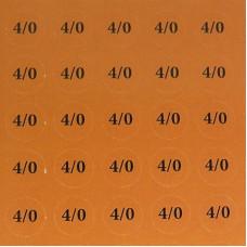 Наклейки на патрони '4/0' (діам. 18 мм, 54 шт. на аркуші), лист