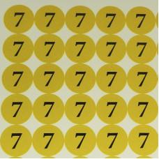 Наклейки на капсюль '7' (диам. 10 мм, 140 шт. на листе), лист