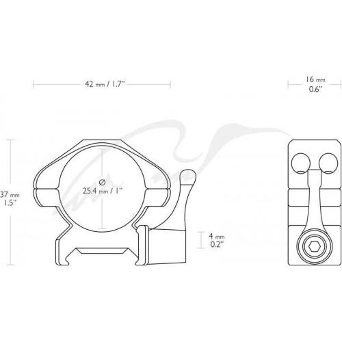 Кільця швидкознімні Hawke Precision Steel. d - 25.4 мм Low. Weaver/Picatinny  - Фото 2